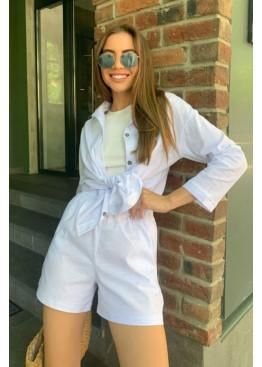 Льняной комплект из рубашки и шорт, белый