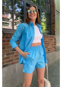 Льняной комплект из рубашки и шорт, голубой