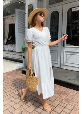 Платье миди из жатого крепа с фактурной отделкой, белый
