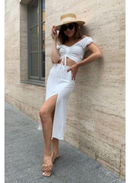 Комплект из кроп-топа и юбки миди, белый