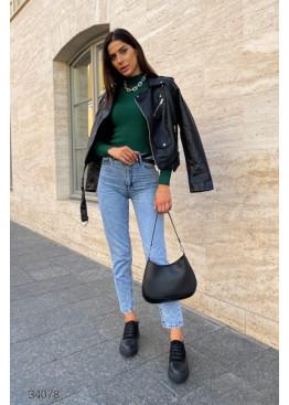 Выбеленные джинсы мом с завышенной талией, голубые