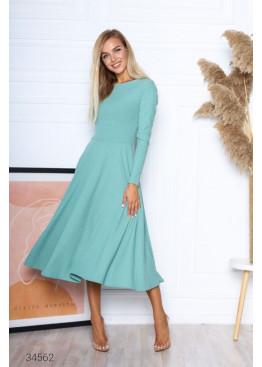 Платье меди в рубчик с вырезом на спине, ментоловый