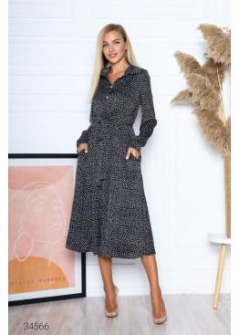 Шелковое платье меди с принтом в горох, черный