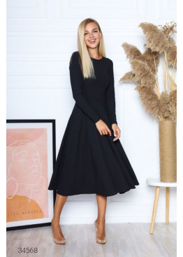 Платье меди в рубчик с вырезом на спине, черный