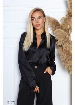 Шёлковая блуза с объёмными рукавами, черный