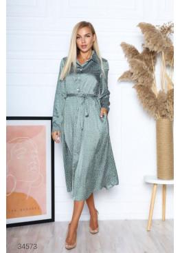 Шелковое платье меди с принтом в горох, ментоловый