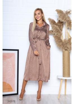 Шелковое платье меди с принтом в горох, коричневый