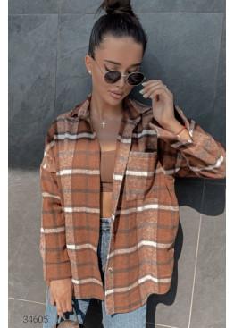 Байковая рубашка с принтом в клетку, коричневый