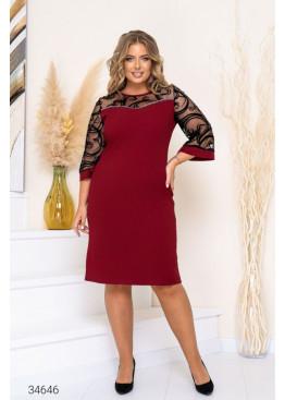Платье-футляр с рукавами из сетки, бордовый