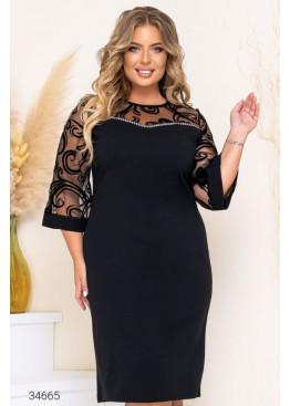 Платье-футляр с рукавами из сетки, черный
