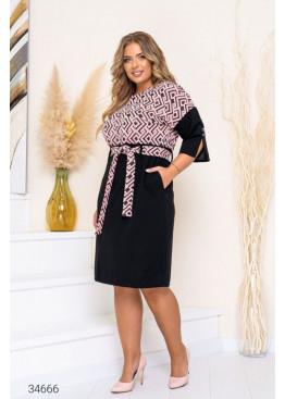 Платье-футляр с фактурной вставкой, розовый