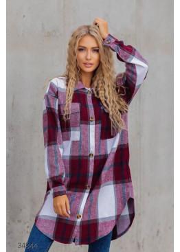 Удлинённая кашемировая рубашка с принтом в клетку, бордовый
