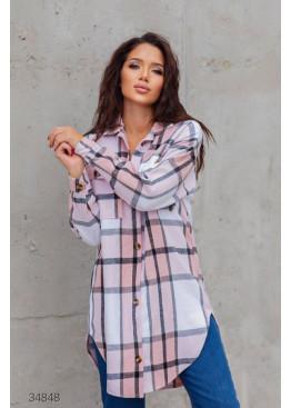 Удлинённая кашемировая рубашка с принтом в клетку, розовый
