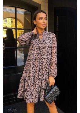 Ярусное шифоновое платье с цветочным принтом, коричневый