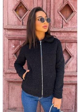 Короткая куртка-шуба из искусственного меха, черный