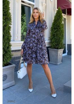 Ярусное шифоновое платье с цветочным принтом, синий