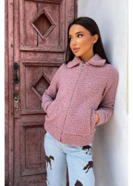 Короткая куртка-шуба из искусственного меха, розовый
