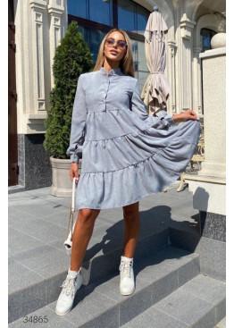 Ярусное вельветовое платье, серый