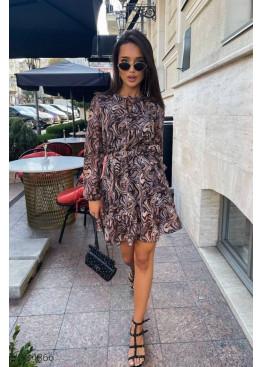 Шифоновое платье с анималистическим принтом, коричневый