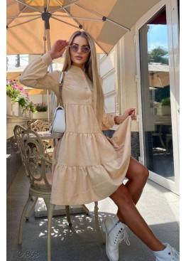 Ярусное вельветовое платье, бежевый