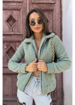 Короткая куртка-шуба из искусственного меха, оливковый