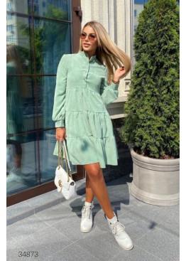 Ярусное вельветовое платье, оливковый