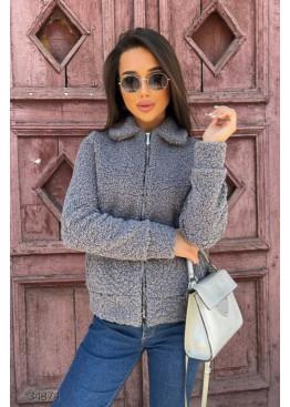 Короткая куртка-шуба из искусственного меха, серый