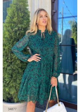 Ярусное шифоновое платье с цветочным принтом, зеленый