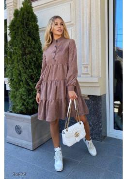 Ярусное вельветовое платье, коричневый