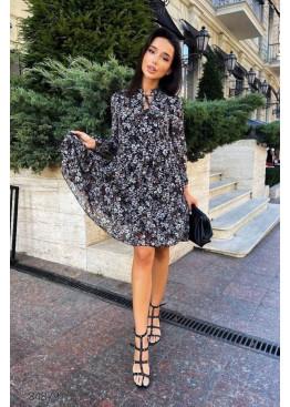 Ярусное шифоновое платье с цветочным принтом, черный