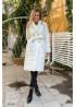 Стёганное пальто миди с поясом, белый