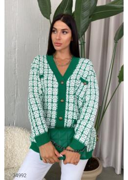 Вязаный кардиган с накладными карманами, зеленый
