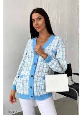 Вязаный кардиган с накладными карманами, голубой