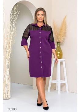 Платье-рубашка со вставкой из гипюра, фиолетовый