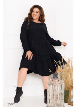 Ярусное платье свободного кроя из микровельвета, черный