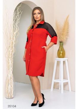 Платье-рубашка со вставкой из гипюра, красный