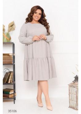 Ярусное платье свободного кроя из микровельвета, серый