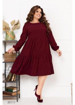 Ярусное платье свободного кроя из микровельвета, бордовый