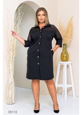 Платье-рубашка со вставкой из гипюра, черный