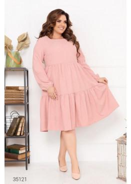 Ярусное платье свободного кроя из микровельвета, розовый