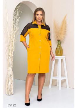 Платье-рубашка со вставкой из гипюра, горчичный