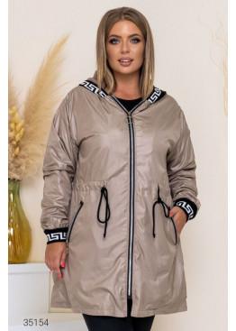 Утеплённая куртка с капюшоном, бежевый