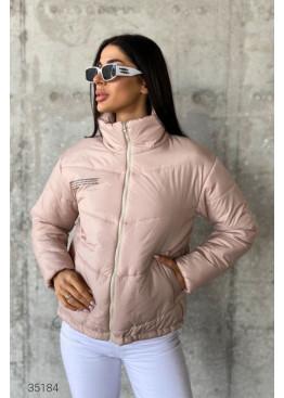 Дутая короткая куртка с воротом-стойкой, розовый