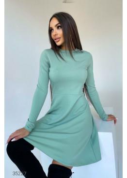 Платье мини в рубчик, ментоловый