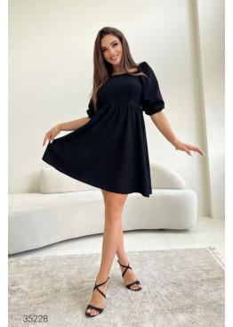 Вельветовое платье с объёмными рукавами, черный