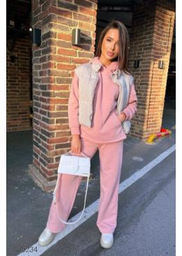 Трикотажный костюм из худи и брюк-палаццо, розовый