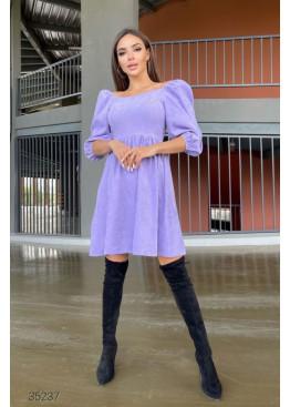 Вельветовое платье с объёмными рукавами, сиреневый