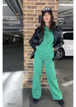 Трикотажный костюм из худи и брюк-палаццо, зеленый