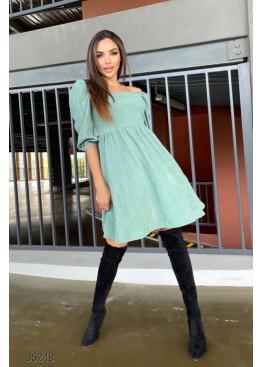 Вельветовое платье с объёмными рукавами, ментоловый