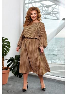 Платье миди с геометрическим принтом, горчичный